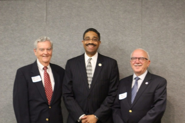Outgoing President David Bland, Supreme Court Justice Michael Morgan, Incoming President Max Adams